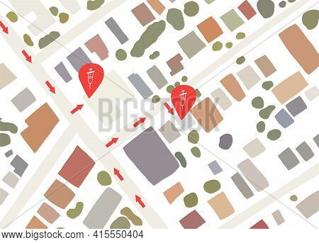 Vaccination Center Location At Map, Vector Illustration. Place For Getting Vaccine, Medicine For Pre