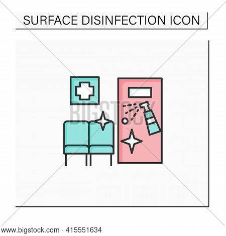 Disinfection In Hospitals Color Icon. Sanitizing Wards And Beds. Isolating Patients. Safety Space An