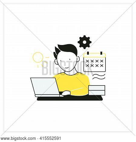 Workaholic Flat Icon.work Through Vocation, Overtime. Work Despite Calendar Days Off. Man At Laptop.