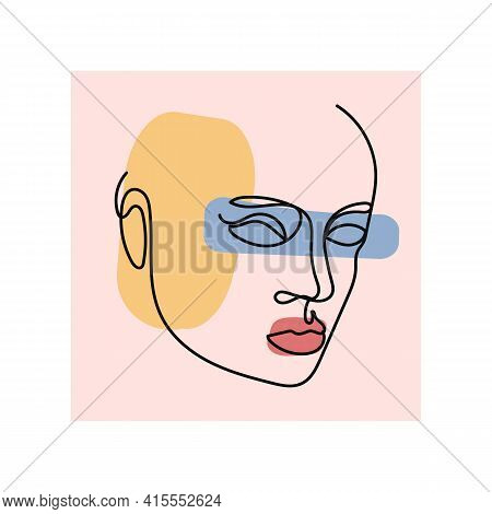 Beautiful Portrait Continuous Silhouette Art. Abstract Minimalistic Linear Sketch. Pretty Face, Prof