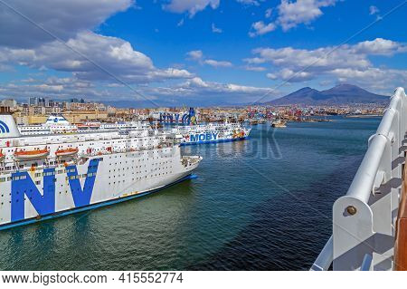 Naples, Italy - March 23, 2021: Cruise Ships In The Port Of The Gulf Of Naples, Tyrrhenian Sea. Moun
