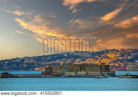 The Castel Dell'ovo (egg Castle) The Oldest Standing Medieval Fortification In Naples On The Gulf Of