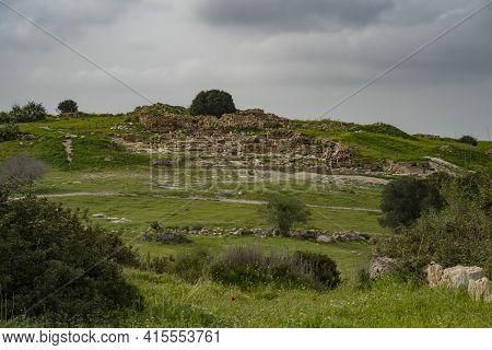 The Archeological Site Khirbat Umm Burj, In The Adullam Region, Israel, On An Overcast Day.