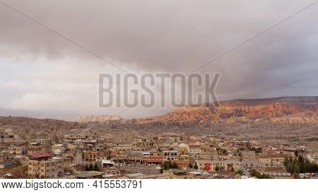 Top View Of Old Town In Canyon. Action. Beautiful Panorama Of Stone City On Background Of Canyon And