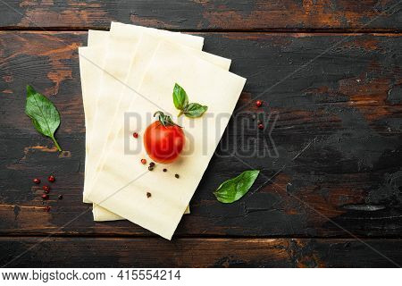Organic Lasagna Pasta Sheets Set, With Seasoning And Herb, On Old Dark  Wooden Table Background, Top