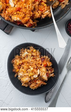 One Pot Chicken Enchilada, Rice Casserole, On White Background, Top View Flat Lay