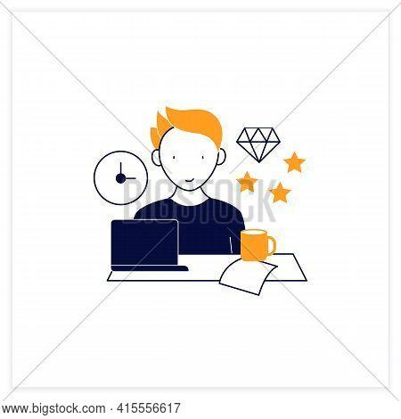 Perfectionist Procrastinator Flat Icon. Set Large, Unattainable Goals. Tired To Solve Tasks.procrast