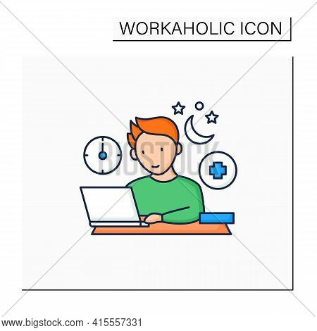 Workaholic Color Icon.workaholism Treatment. Necessary Therapy.man At Laptop.overworking Concept.iso