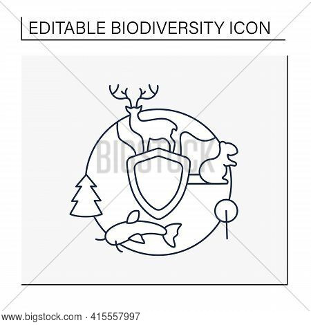 Biodiversity Protection Line Icon.limiting Deforestation.reduce Air Pollution.fighting Global Warmin