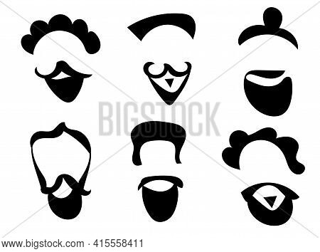 Hipsters Vector Silhouettes On White Backgroud. Set For Graphic Design, Decoration