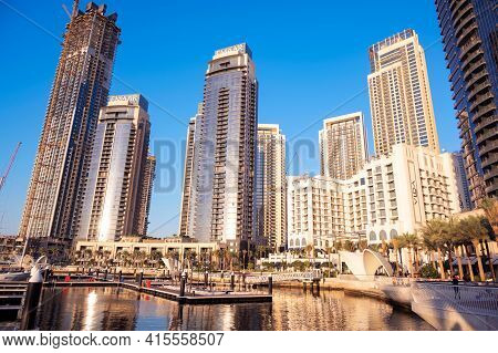 1st December 2020.dubai Creek Harbor Skyline With Embankment Promenade ,hotels, Shops And Residences