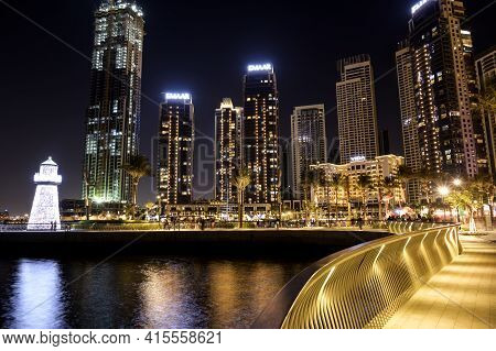 1st December 2020.dubai Creek Harbor Skyline With Embankment Promenade And Dubai City Night Illumina