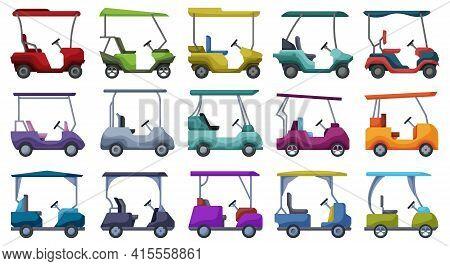 Golf Car Vector Cartoon Set Icon. Vector Illustration Auto On White Background. Isolated Cartoon Set