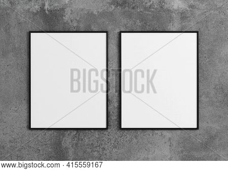Double 8x10 Vertical Black Frame Mockup On Concrete Wall. 3d Rendering