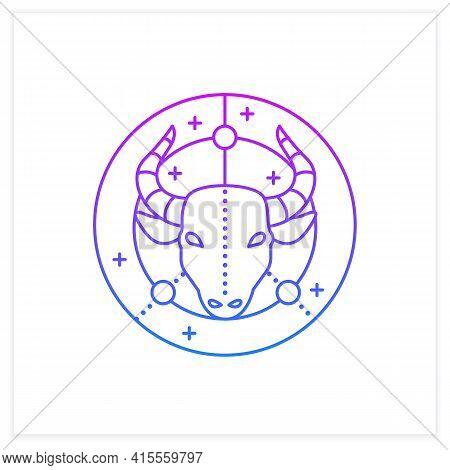Taurus Gradient Icon. Bull Symbol. Second Fire Sign In Zodiac. Mystic Horoscope Sign. Bullfight, Cor
