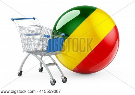 Shopping Cart With Congo Flag. Shopping In Congo Concept. 3d Rendering Isolated On White Background