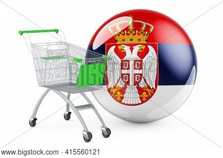 Shopping Cart With Serbian Flag. Shopping In Serbia Concept. 3d Rendering Isolated On White Backgrou