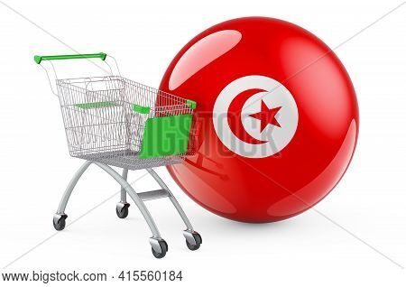 Shopping Cart With Tunisian Flag. Shopping In Tunisia Concept. 3d Rendering Isolated On White Backgr