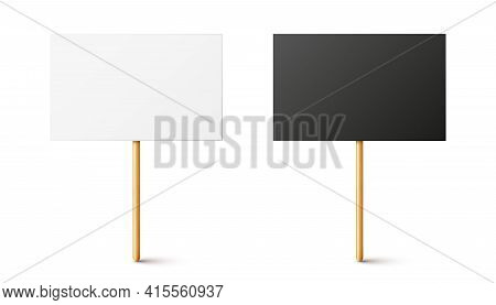 Blank Black And White Protest Signs With Wooden Holder. Realistic Vector Demonstration Banner. Strik
