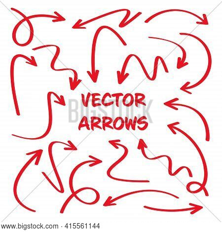 Red Hand Drawn Arrows Isolated On White Background. Doodle Arrow, Zigzag And Round Pointers. Handmad