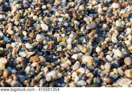 Colored Pebbles At The Coast Sea. Beautiful Beach And Pebbles On Mediterranean Sea Beautiful Macro W