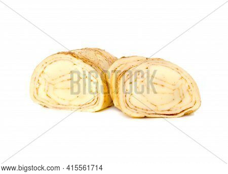 Cheese On A White Background. Cheese With Spices Close-up On A White Background.