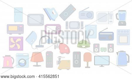 Household Appliances Background. Home Appliances Simple Flat Icon