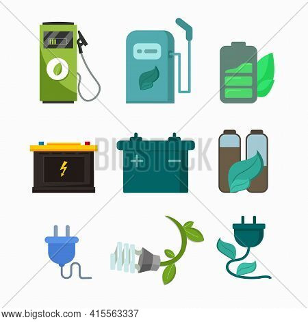 Alternative Energy Vector Illustration. With Green Leaf Battery, Electric Car Vector Icon Set, Alter