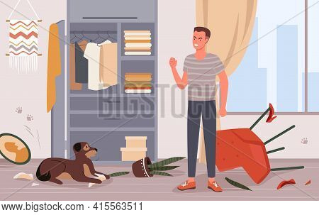 People Scold Dog Pet Behavior Problem Vector Illustration. Cartoon Young Angry Man Character Scoldin