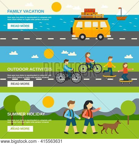 Outing Horizontal Banner Set With Outdoor Activities Elements Isolated Vector Illustration