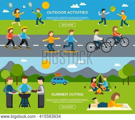 Outing Horizontal Banner Set With Outdoor Activities Isolated Vector Illustration