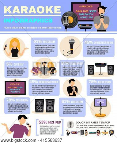Karaoke Infographics Set With Audio Equipment And People Singing Vector Illustration
