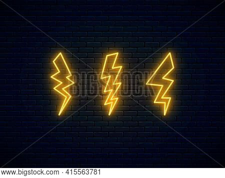 Neon Lightning Bolt Set. High-voltage Thunderbolt Neon. Electric Discharge Symbol. Banner Design, Br
