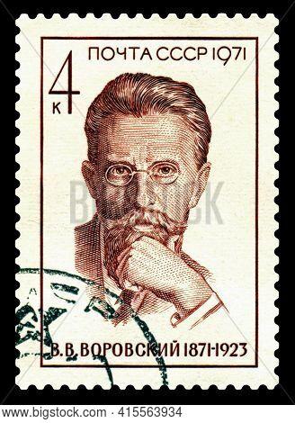 Stavropol, Russia - April 04 2021:: A Stamp Printed In Ussr Shows Portrait Vatslav  Vorovsky (1871-1