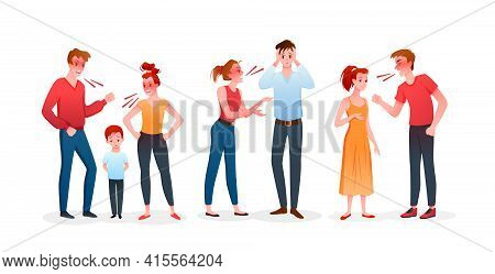 Family Or Couple People Quarrel Set, Angry Man And Woman Have Argument, Quarreling