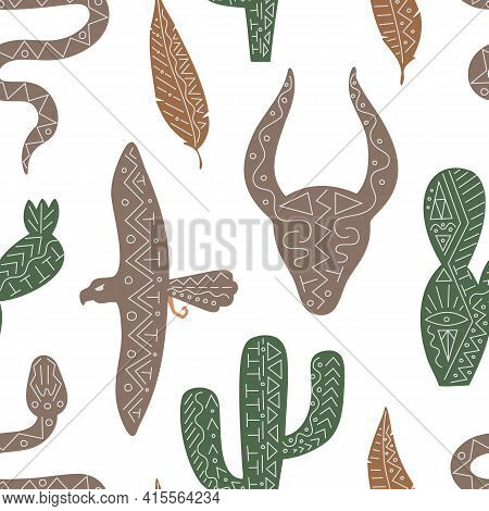 Vector Seamless Pattern With Wild West Animal, Bird, Serpent For Menu, Web, Fabric In Ethnic Trendy