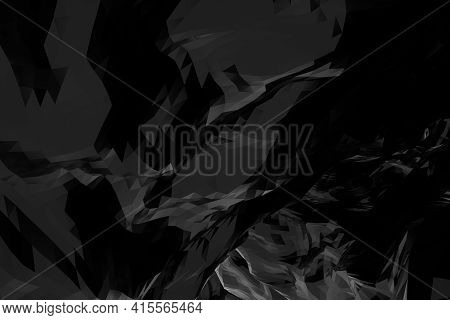Abstract Cgi Background With Shiny Black Triangular Mesh Surface, 3d Rendering Illustration