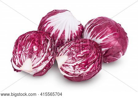 Fresh Red Radicchio Salad Isolated On White Background With Clipping Path And Full Depth Of Field