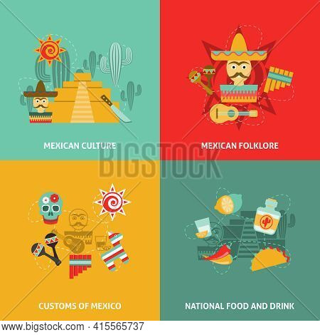 Mexican Icons Set With Culture Customs Folklore And Food Symbols Flat Isolated Vector Illustration