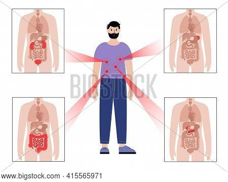Pain In Internal Organs In The Man Body. Problem With Kidney, Pancreas, Intestine And Spleen In Male