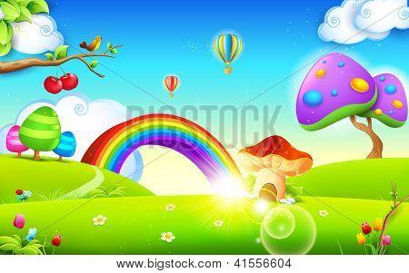 illustration of mushroom homes in spring season