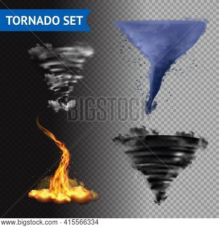 Set Of 4 Cloud Water Fire And Lightning Tornados On Transparent Background 3d Isolated Vector Illust