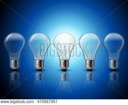 Successful Thinking And Getting Bright Ideas Metaphorical Gradually Burning Light Bulbs Row  Backgro