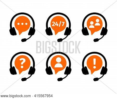 Customers Support Online Service Icons Set. Call Center Symbols With Headphones Isolated On White Ba