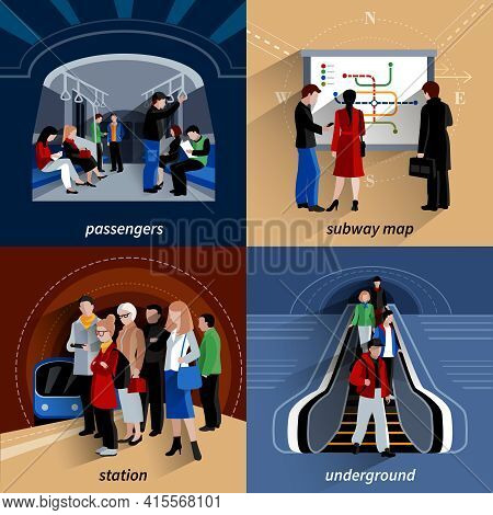 Underground Train Station And Subway Lines Schematic Map 4 Flat Icons Square Banner Abstract Isolate