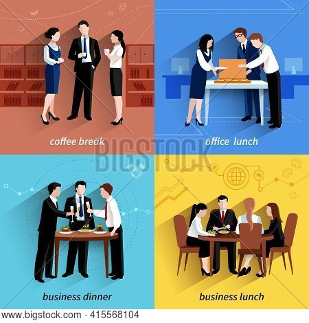 Business Office Lunch Break And Coffee Pause 4 Flat  Icons  Composition Square Banner Abstract Isola