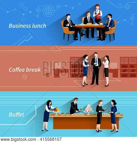 Business Lunch Coffee Break And Buffet Service At Work Flat Horizontal Banners Set Abstract Isolated