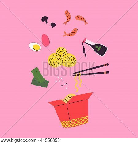 Asian Food. Wok Menu Traditional Ingredients. Restaurant, Cafe Design Element. Banner, Flyer. Vector