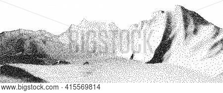 Dot Stipple Landscape Mountains. Vector Landscape In Dotwork Style. Black And White Grainy Dotwork D