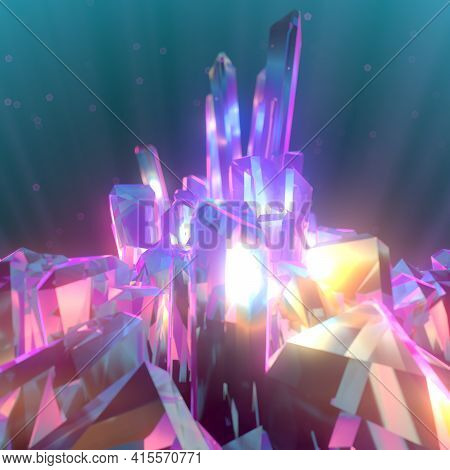 3d Rendering Digital Illustration With Multi Colored Shiny Crystals. Light Particles Is Reflected In